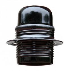 Douille à vis E27 en acier finition chromé noir