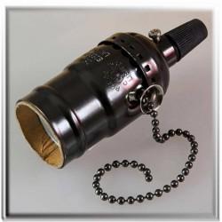 Douille à vis E27 bronze noir style vintage avec interrupteur à chainette