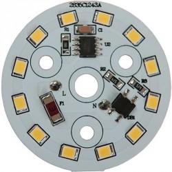 Platine AC LED 5 watts à alimentation transistorisé 230V - 12 LED 2835 - Ø 40 mm