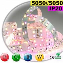 Strip LEDs large RGB-WW de 20mm IP20 - Double assemblage de LEDs 5050 sur mesure