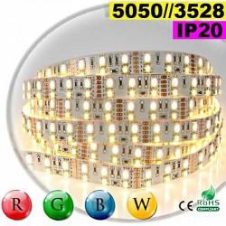 Strip LEDs RGB-WW IP20 - Double assemblage de LEDs 5050 et 3528 sur mesure