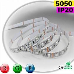 Strip Led RGB SMD 5050 IP20 60leds/m rouleau de 5 mètres