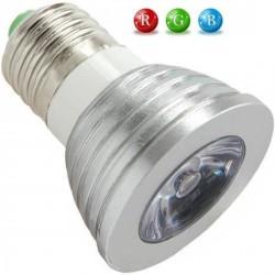Ampoule LED E27 RVB 3 Watts + télécommande IR