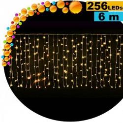 Guirlande rideau lumineux 256 LED gold 6m