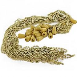 Chaine maille boule métal doré avec poignée longueur 1 m