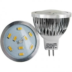 Ampoule LED culot MR16 GU5.3 - DC 12V 3 watts 9 LED 5630 spectra color