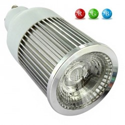Ampoule COB GU10 RVB 5 Watts + télécommande IR