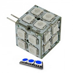 Ampoule cube 20 LED SMD couleur bleu 8 à 24 volts G4