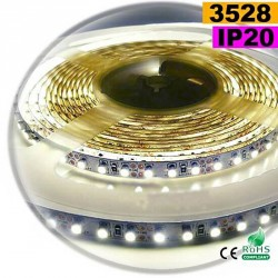 Strip Led blanc chaud leger SMD 3528 IP20 120leds/m 5m