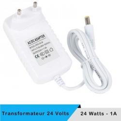 Alimentation LED transformateur 24 volts 24 watts sur prise boitier blanc