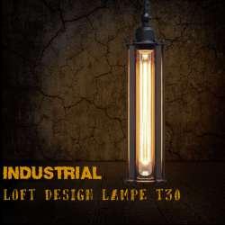 Luminaire suspendu pour lampe T30 vintage à filament