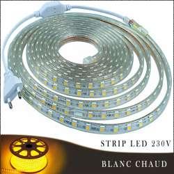 Strip LED 230 volts blanc chaud vendu au mètre linéaire