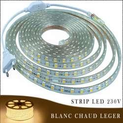 Strip LED 230 volts blanc chaud léger vendu au mètre linéaire