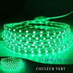 Strip LED 230 volts vert en rouleau de 25, 50 ou 100 mètres