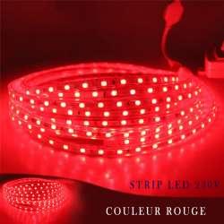 Strip LED 230 volts rouge en rouleau de 25, 50 ou 100 mètres