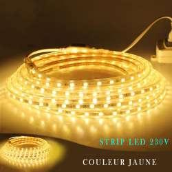 Strip LED 230 volts jaune en rouleau de 25, 50 ou 100 mètres