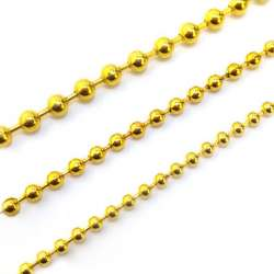 Chaine maille boule métal doré en diamètre 3.2mm - vendu au mètre linéaire