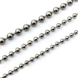 Chaine à maille boule en métal couleur argent diamètre 4.5mm - vendu au mètre linéaire