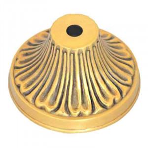 Pavillon en laiton feuille biloba - diamètre 88mm passage tube M10