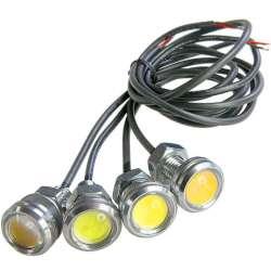 Mini lampe spot LED en 12 volts de 2 watts sur manchon fileté M10 avec lentille sphèrique