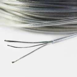 Câble électrique 2x0.3mm sur téflon transparent avec câble acier inoxydable porteur