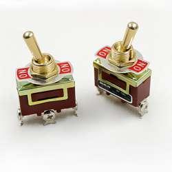 Interrupteur à levier ou à bascule double circuit va et vient avec bornier à vis