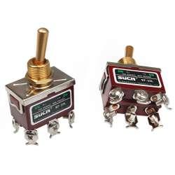 Interrupteur à levier ou à bascule On / On double circuits avec six borniers à vis